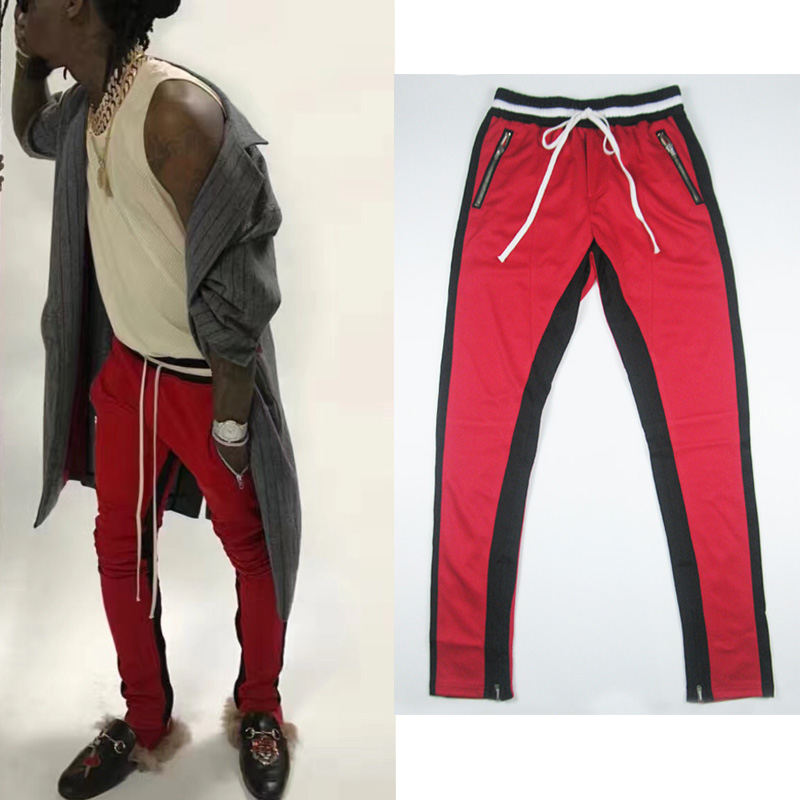 casual menswear 90S fashion sweat pants man  red side zipper real US size street wear hip hop jogger pants men compressionÎäåæäà è àêñåññóàðû<br><br>