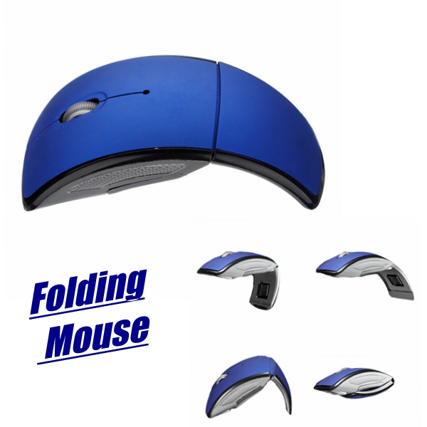 Blue Mini Folding Wireless Optical Mouse Mice 2.4G USB 2.0 + USB Transceiver for PC Laptop(China (Mainland))