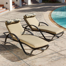 2017 All Weather hot sell garden furniture outdoor rattan sun loungers(China)