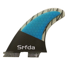 SURFBOARD FINS THRUSTER SET BLUE FCS II G5 TRI NEW SURF FIN SKEG fiberglass with carbon fins M size