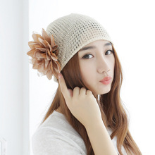 Beanie Direct Selling 2016 Fashion Spring Summer Women Knitted Hat Female Korean Lace Head Scarf Breathable Flowervoice Cap