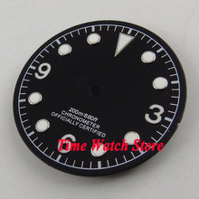 30.4mm black sterial dial luminous white marks Watch Dial fit 2824 2836 Automatic Movement D54