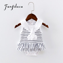 Fanfiluca New Born Striped Baby Girl Dress Cotton Soft Newborn Body Suit Infant Baby Romper Clothes(China)