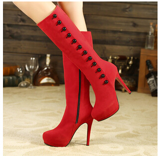 Womens Boots Faux Suede Zipper Sexy Medium Boots  High Heels ladies wedding shoe Autumn/Winter 2014 New Fashion Hot Sale shoes<br><br>Aliexpress
