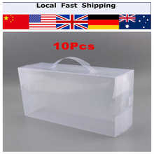 10pcs Foldable Clear Plastic Storage Case Women Ladies Stackable Shoe Box Shoe Boot Boxes 30X18 X10CM A(China)
