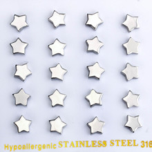 Fashion Jewelry Five star stainless steel stud earring Top quality Never fade antiallergic 1 Set /10 Pairs wholesale(China)