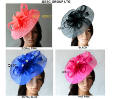 NEW Big fascinator Sinamay hat w/feather flower for kentucky derby wedding races party church.hot pink fuchsia,royal,coral,black