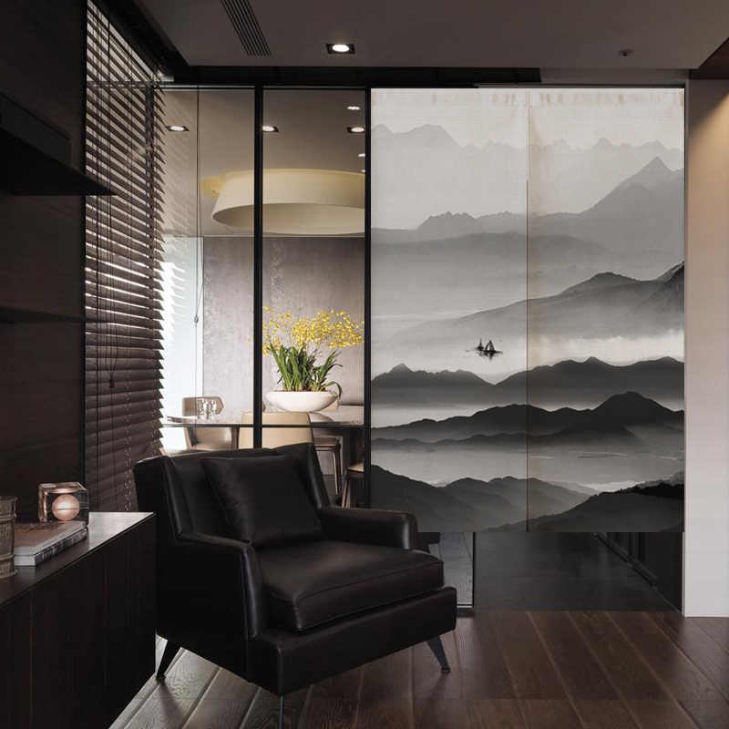 Chinese Japanese Zen mountain ink Linen Door Curtain Noren Restaurant Kitchen Bedroom Curtains Home Decor Customizable curtain