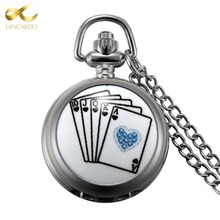 Lancardo Drop Shipping Product Silver Poker Pocket Watch Neckalce Pendant Watches Men Women Gift With Chain(China)