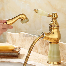 European Luxury Brass Jade Basin Faucet Swivel Pull Out Bathroom Sink Faucet Hot and Cold Water Mixer Tap torneira banheiro