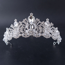 Elegant Gorgeous Silver Color Crystal Bead Wedding Bridal Tiara Crown For Bride Pageant Prom Hair Accessories