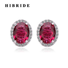 HIBRIDE Fashion Jewelry Red CZ Stone Stud Earrings Women Jewelry Factory Direct Jewelry Bohemian Earring E-317