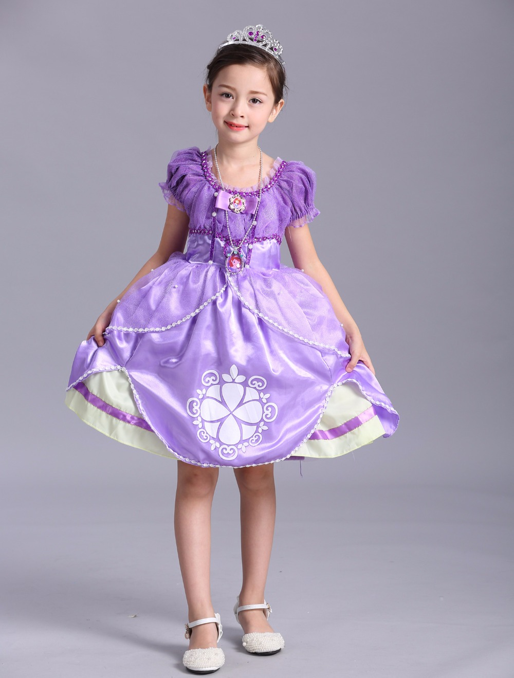 Fashion high quality cotton lining beaded character princess sofia the first costume dress for kids birthday parties<br><br>Aliexpress