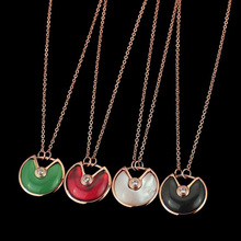 High Quality Gold C Black White Red Green Shell inlay Cubic Zircon Pendant Necklace Fine Clavicle Chain Jewelry for Women(China)