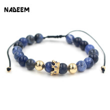 NADEEM Anil Arjandas Fashion Men Women Stone Bead Bracelet,Pave Setting Black CZ Crown Charm Weave Braiding Men Macrame Bracelet(China)