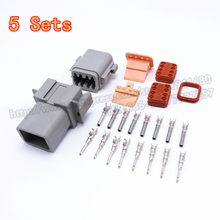 5 Sets 8 Pins Kits Enhanced Seal Shrink Waterproof Male Female Automotive Connector Plugs Deutsch DT06-8S DT04-8P