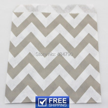 200pcs Wide Chevron Treat Bags Gray-Grey Zig Zag Paper Party Food Candy Treat Favor Snack Gift Goodie Bag-Choose Your Colors(China)
