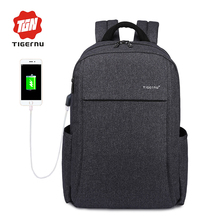 "2017 New Design Tigernu Anti-thief USB charging 15.6"" laptop Compute backpack for women male Backpack school Bag for Men Mochila"