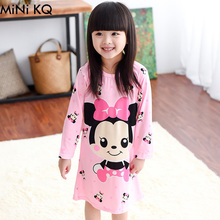 2Y-12Y Girls Princess Cartoon Nightgowns Children Spring Autumn  Character Long Sleeve Modal Pajama Dress Kids Sleepwear
