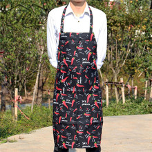 Adjustable Black & Red Chili Apron With Pockets Chef Waiter Kitchen Cook Apron Tool Polyester Avental Delantal For Man Woman