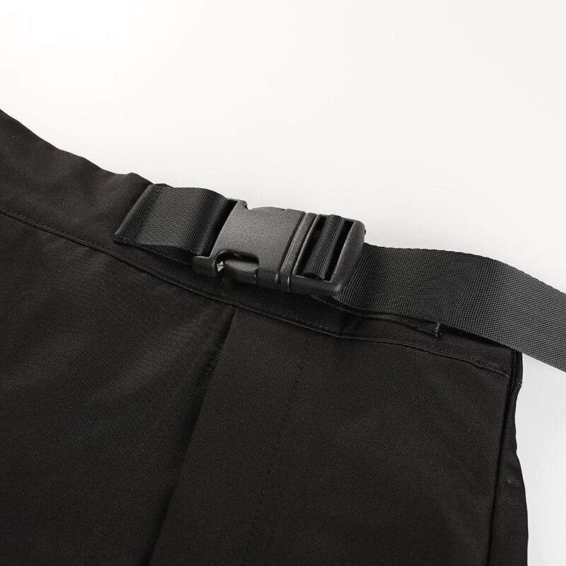 10Sweetown Black Korean Style Women Skirt Womens Vogue Belt High Waist Short Skirts Woman Sexy Cotton Split Side Summer 2018 Skirt