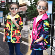 Girls Outerwear Waterproof Windproof Outdoor Sports Jackets For Girls Camouflage Hooded Coats Girls Clothes 3 5 7 9 11 12 Years
