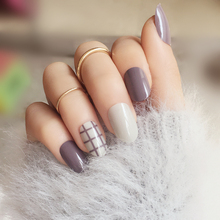 Fashion 24PCS/set lattice style finished False nails,Small round head Middle-long size full nail tips Patch lady art tool bride(China)