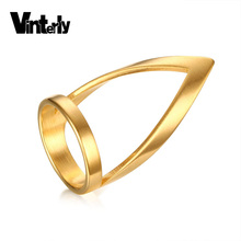 Vinterly Fashion Jewelry Women High Polished Long Ring Gold Color Stainless Steel Wedding Rings For Female