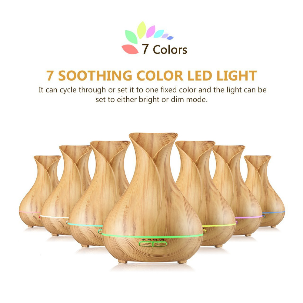 400ML aromatherapy electric diffuser led aroma diffusers essential oil diffuser air humidifier 7 led lights 12v difusor de aroma<br>