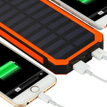 Solar Power Bank 20000mAh Dual USB Charging Waterproof Powerbank External Battery Solar Panel Charger With LED Light For Phone