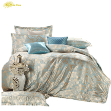 2017 Blue High Quality Silk Tencel satin Jacquard Bed linen Bedding set Queen king size Bedclothes Duvet cover set