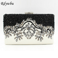 Rdywbu Luxury PU Beaded Day Clutches Imitation Pearl Diamond Evening Bag Crystal Banquet Party Wedding Shoulder Handbag SJ160
