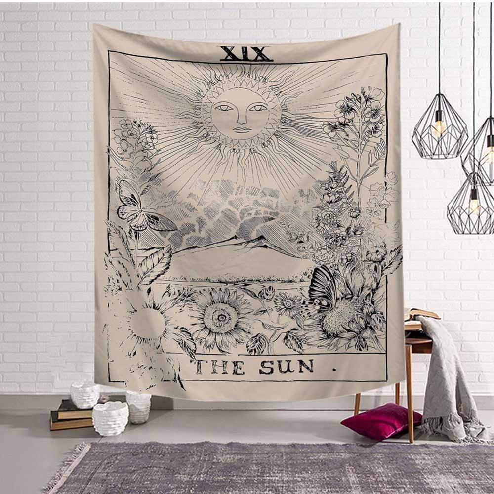 GT8053-3 Mandala Tapestry Wall Hanging Witchcraft Hippie Beach Throw Rug Carpet Sun Moon Tapestries Bohemian Home Art Psychedelic Decor