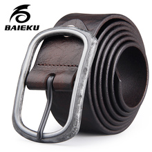 Buy BAIEKU Old retro buckle belt Men's leather belt Belt jeans Simple design belt for $32.00 in AliExpress store