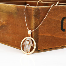 Retro Arab Crystal Hamsa Hand Pendants Necklace Brand Luck Fatima Palm  Chain nice Necklace