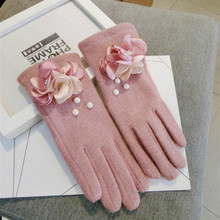 new women autumn winter Pink powder lotus touch screen five fingers thick wool knit gloves cute warm mittens