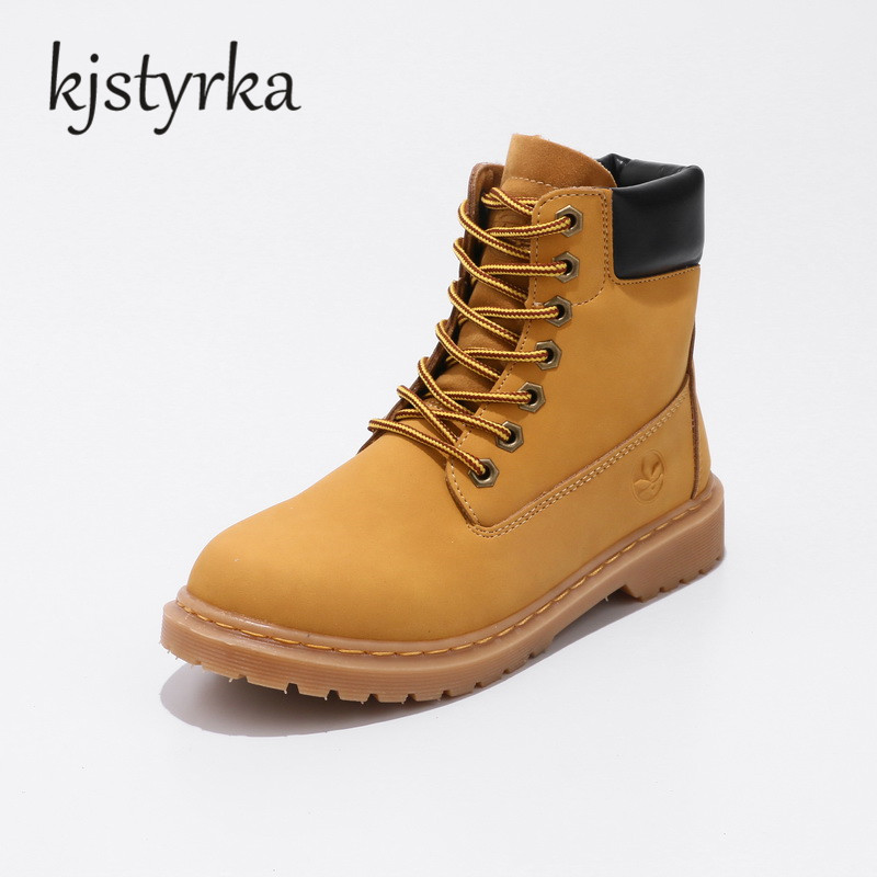 Kjstyrka autumn winter women ankle boots Lace-up Rihanna Style woman Yellow Boots  for girls ladies work shoes plus size 36-44<br>