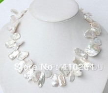 free shipping $wholesale_jewelry_wig$  Great! Baroque natural white Reborn Keshi pearls necklace