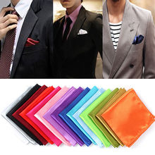 1 pc Men Silk Satin Pocket Square Hankerchief Hanky Plain Solid Color Wedding Party accessories 15 colors