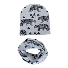 Autumn Winter Baby Girl Boy Hats Set  Kids Toddler Warm Cotton Caps Scarf  Set