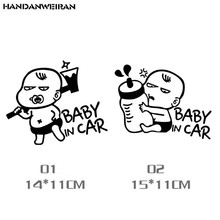 Car Styling BABY IN CAR Reflective Funny baby in the car rear Warning Body Car Sticker Two optional Black/White(China)