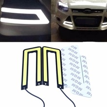 2Pcs Car Auto White COB Leds Daytime Running Bright Light DRL Waterproof Headlight Fog Lamp U Shape