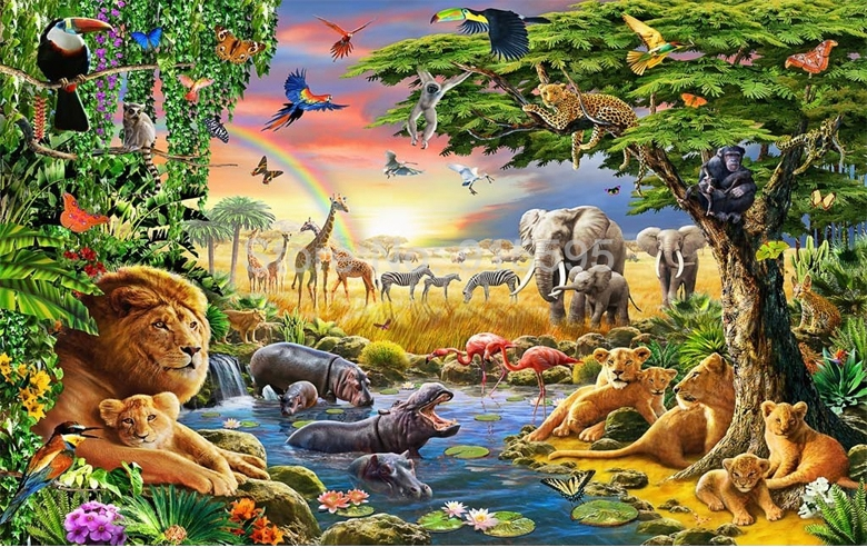 HTB1cQaSSpXXXXa2XpXXq6xXFXXXK - Custom Photo Mural Non-woven Wallpaper 3D Cartoon Grassland Animal Lion Zebra Children Room Bedroom Home Decor Wall Painting
