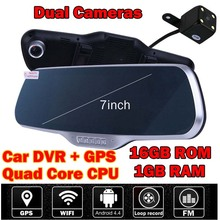 7 inch Wifi Android vehicle Car DVR GPS Navigation Rearview Mirror DashCam Dual camera 1GB RAM 16GB ROM Quad Core CPU FM 1080P