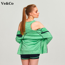 Ve&Co Women's Yoga Shirt 2017 Autumn New Fitness Jacket Long Sleeve Running Jacket Quick Drying Sport Coat Breathable Sportswear(China)