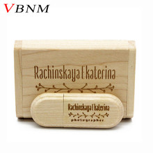 VBNM LOGO customized Wooden USB flash drive pen drives Maple wood+Packing box pendrive 4GB 8GB 16GB 32GB memory stick gift
