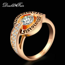 Double Fair Classical Ring Cubic Zirconia Silver/Rose Gold Color Engagement/Wedding Jewelry For men and Women Wholesale DFR308