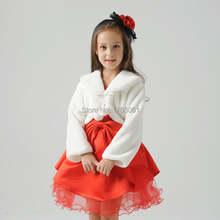 Lovely Pink Ivory Red Blue Flower Girls Faux Fur Wrap Bolero Long Sleeves Fall Winter Little Kids Jacket&Coat Short Cute 2017(China)