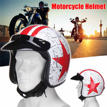 Vintage Safety White Star Motorcycle Helmet Open Face 3/4 Head Protector Racer Motorcycle Accessories Protective Gears