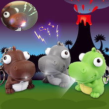 J210 Lovely!! New Arrival LED Animal Big Eye Dinosaur Action Figure Toys With Sound Keychains Kids Gifts Wholesale